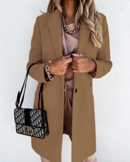 Γυναικείο κομψό παλτό με φόδρα 5332 καμηλό