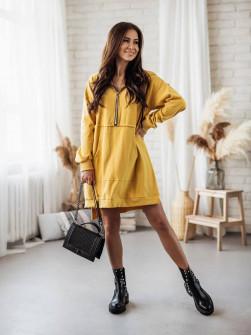 Γυναικείο φόρεμα με φερμουάρ 19877 κίτρινο