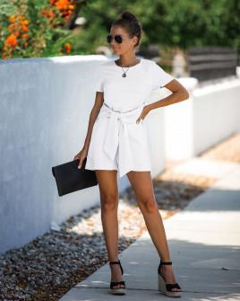 Γυναικεία ολόσωμη φόρμα με ζώνη κορδέλα 5085 άσπρη