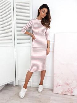 Γυναικείο φόρεμα ριγέ 3530 ροζ