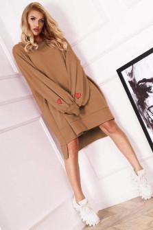 Γυναικείο χαλαρό μπλουζοφόρεμα 19740 καμηλό