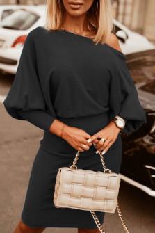 Γυναικείο φόρεμα με έναν ώμο 3675 μαύρο