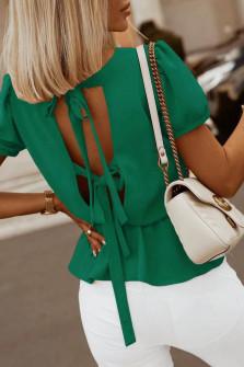Γυναικεία μπλούζα με ανοιχτή πλάτη 5871 πράσινη