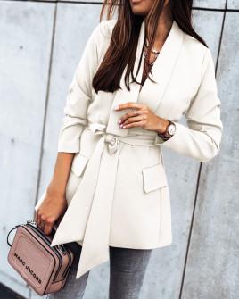 Γυναικείο σακάκι με φόδρα και ζώνη 5339 άσπρο