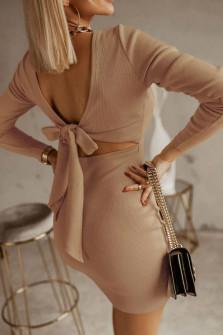 Γυναικείο φόρεμα με εντυπωσιακή πλάτη 5562 καμηλό