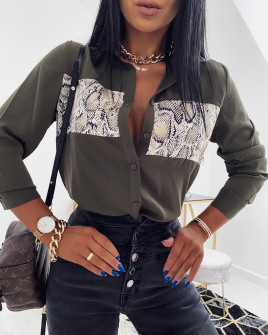 Γυναικείο πουκάμισο με print φιδιού 2644 σκούρο πράσινο