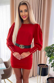 Γυναικείο φόρεμα με ζώνη 6016 κόκκκνο