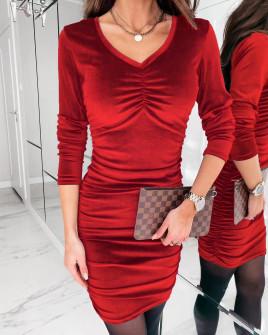 Γυναικείο εφαρμοστό φόρεμα 3434 κόκκινο