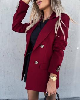 Γυναικείο μακρύ σακάκι με φόδρα 6075 μπορντό