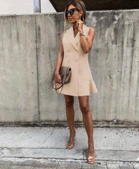 Γυναικείο φόρεμα με κουμπιά από τις δύο πλευρές 5066 μπεζ