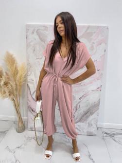 Γυναικεία χαλαρή ολόσωμη φόρμα 3702 ροζ