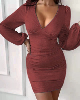 Γυναικείο φόρεμα λαμέ 3418 κόκκινο