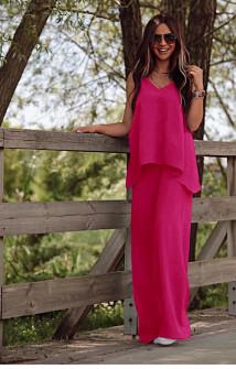 Γυναικείο χαλαρό σετ τοπάκι και παντελόνι 5154 φούξια