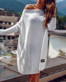 Γυναικείο πλεκτό μπλουζοφόρεμα 00633 άσπρο