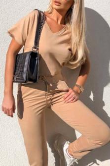 Γυναικείο σετ κοντομάνικο και παντελόνι 3683 μπεζ