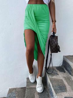 Γυναικεία ασύμμετρη φούστα 5134 ανοιχτό πράσινο