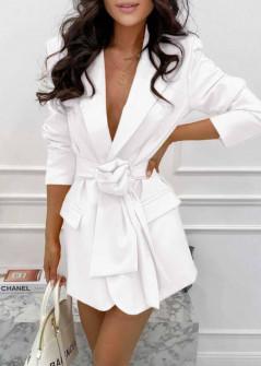 Γυναικείο σακάκι με φόδρα και ζώνη 5906 άσπρο