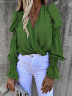 Γυναικεία μπλούζα με εντυπωσιακό μανίκι 8553 πράσινη