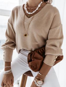 Γυναικεία μπλούζα με κουμπιά στο μανίκι 4117 μπεζ