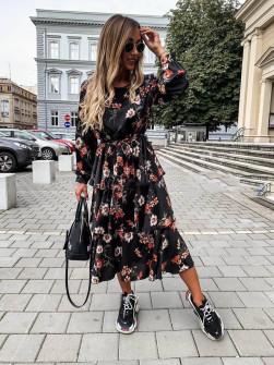Γυναικείο σατέν φόρεμα μίντι 9571 μαύρο
