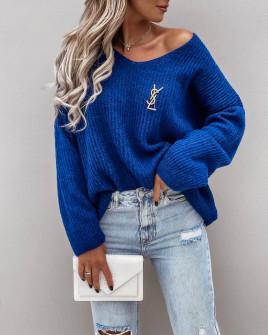 Γυναικείο φαρδύ πουλόβερ 88080 μπλε