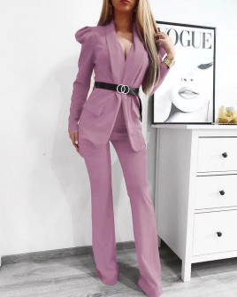 Γυναικείο σετ με σακάκι και παντελόνι 9808 βιολετί