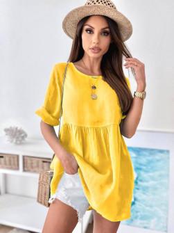 Γυναικείο μονόχρωμο μπλουζοφόρεμα 27931  κίτρινο