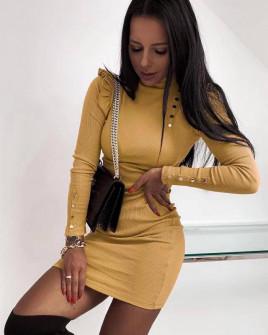 Γυναικείο εντυπωσιακό φόρεμα 2665 καμηλό