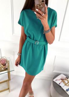 Γυναικείο φόρεμα με ζώνη 5055 πράσινο