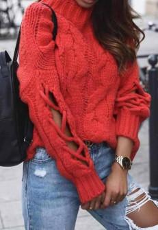Γυναικείο πουλόβερ με εντυπωσιακά μανίκια 00861 κόκκινο