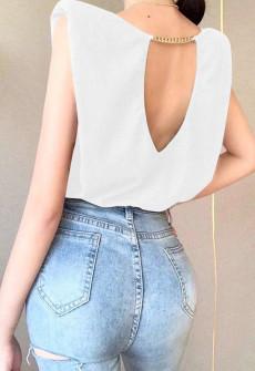 Γυναικείο μπλουζάκι με κορδόνι στην πλάτη 50455 άσπρο