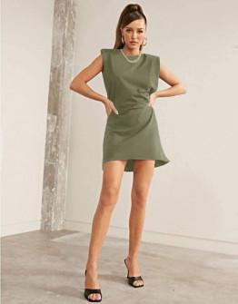 Γυναικείο φόρεμα με βάτες στους ώμους 5151 σκούρο πράσινο