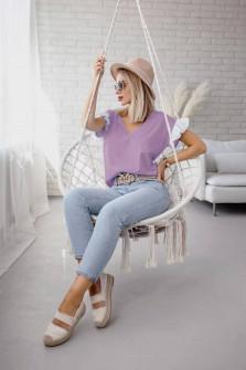 Γυναικεία μπλούζα με δαντέλα στο μανίκι 5584 λιλά