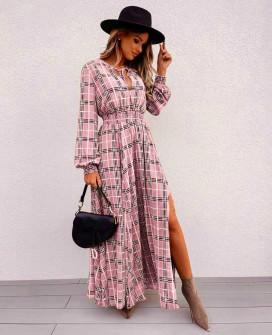 Γυναικείο μακρύ φόρεμα καρό 55932 ροζ