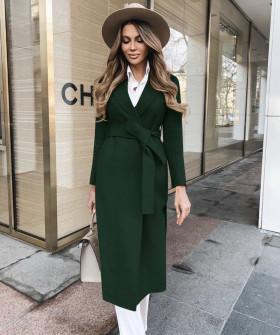 Γυναικείο κομψό παλτό με ζώνη και φόδρα 5357 πράσινο