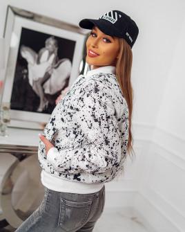 Γυναικείο μπουφάν με print 81975 άσπρο