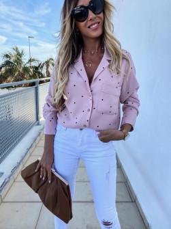 Γυναικείο πουκάμισο πουά 5242 розова