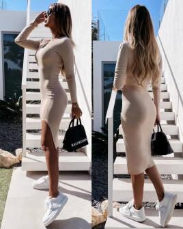 Γυναικείο εφαρμοστό φόρεμα 5578 μπεζ