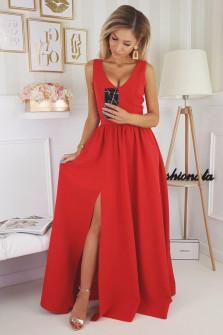 Γυναικείο μακρύ φόρεμα με σκίσιμο 1977 κόκκινο
