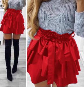 Γυναικεία φούστα δερματίνης 0269 κόκκινη