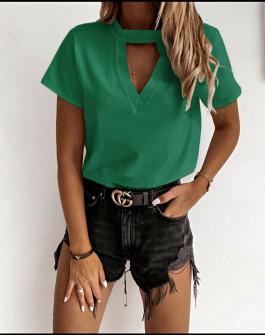 Γυναικεία κοντομάνικη μπλούζα 5167 πράσινη