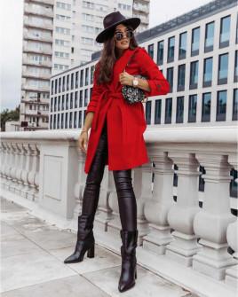 Γυναικείο παλτό με φόδρα και ζώνη 5334 κόκκινο