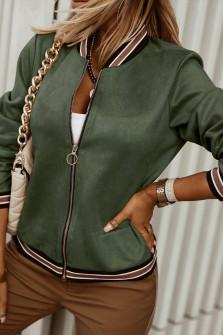 Γυναικείο βελουτέ μπουφάν 6001 σκούρο πράσινο
