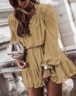 Γυναικείο εντυπωσιακό φόρεμα 7105 καμηλό