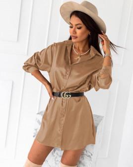 Γυναικείο σατέν πουκάμισο 6025 καμηλό