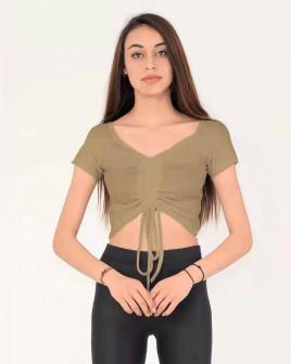 Γυναικεία κοντή μπλούζα 9096 καμηλό