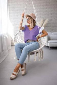 Γυναικεία μπλούζα με δαντέλα στο μανίκι 5584 μωβ