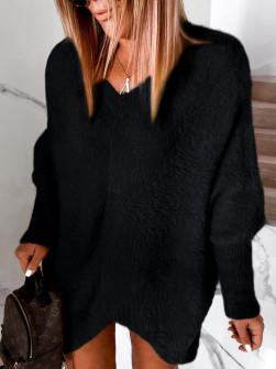 Γυναικείο χνουδωτό μπλουζοφόρεμα 5351 μαύρο