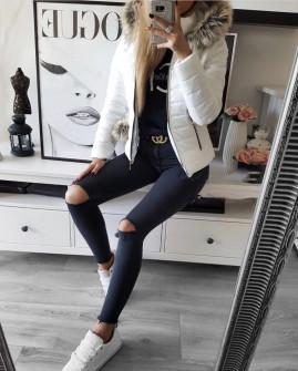 Γυναικείο μπουφάν με γουνάκι 81264 άσπρο