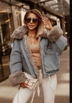 Γυναικείο τζιν μπουφάν με γούνα 4092 μπλε με μπεζ γούνα